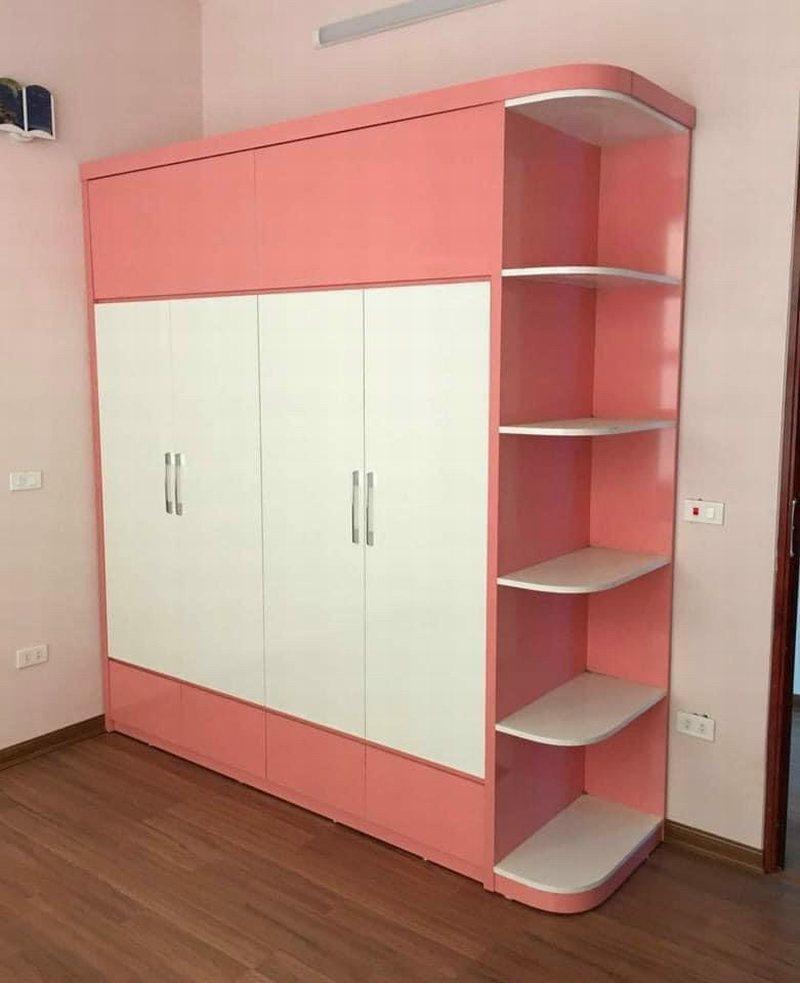 Mẫ tủ quần áo gỗ màu hồng giá rẻ 1